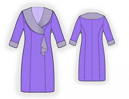 Выкройка - платье с атласным воротником
