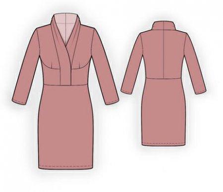 Выкройка - Платье с воротником шалька