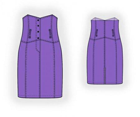 Выкройка - юбка с высоким поясом