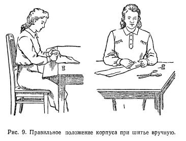 Приемы работы при шитье вручную